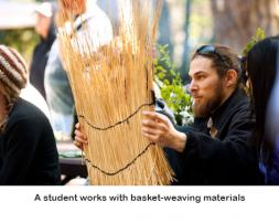 Person holding grass for making baskets